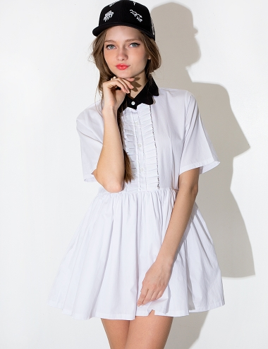Collar Shirt Dress - White Babydoll Dress -