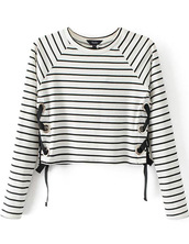 sweater,lace up,brenda-shop,sweatshirt,stripes,striped top,striped sweater,lace up top,black and white,crop tops,crop,cropped sweater,winter outfits,sexy,cute,cute top,knit,knitted sweater,knitted top