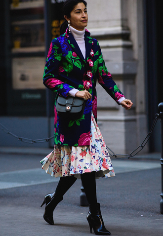 coat tumblr floral fashion week 2017 streetstyle floral coat printed coat white turtleneck top turtleneck earrings jewels jewelry skirt midi skirt floral skirt tights opaque tights boots black boots ankle boots high heels boots pointed boots