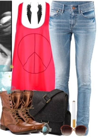 earrings bag pink shirt t-shirt peace sign jeans hippie indie wings boots