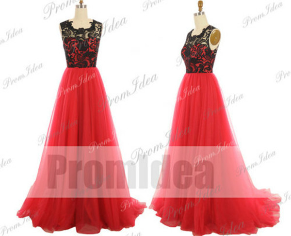 red dress long prom dress