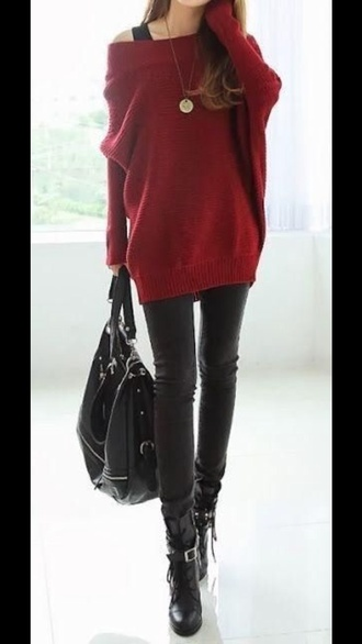 red fall sweater fall outfits dress winter sweater winter outfits tights burgundy sweater sweater bag black purse shoes