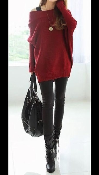 Sweater: bag, black, purse, shoes, red, fall sweater, fall outfits ...