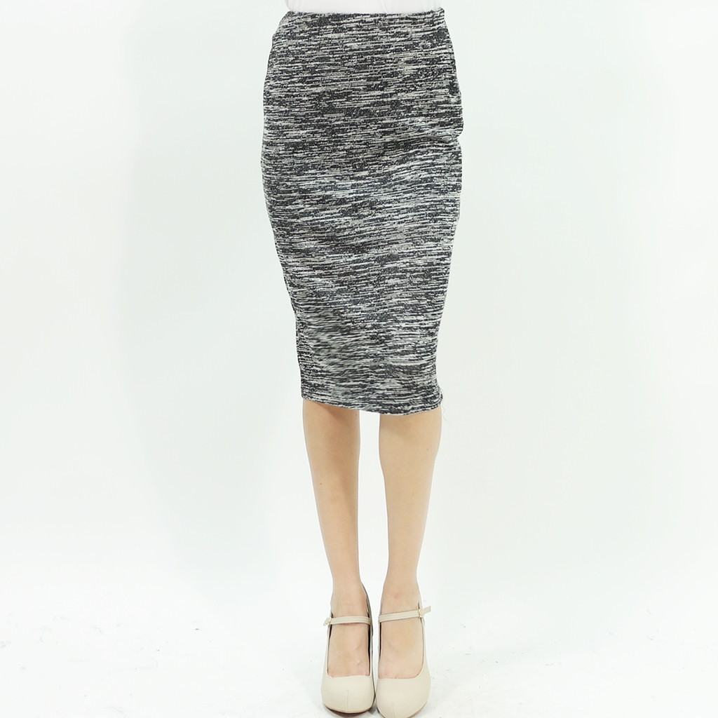Two tone melange tweed gray mid length pencil skirt