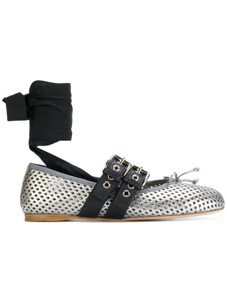 women shoes leather grey