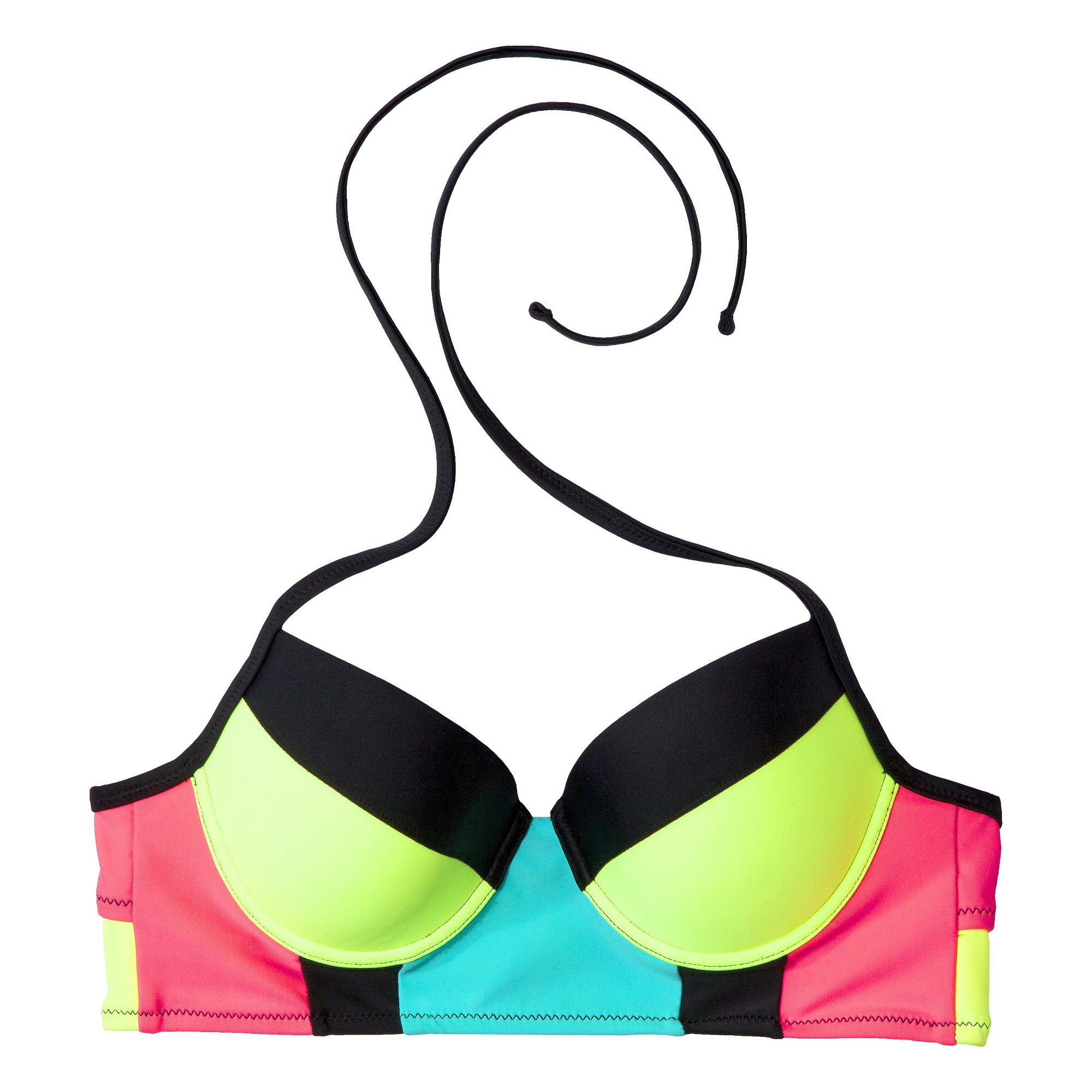 Xhilaration® Junior's Midkini Swim Top -Colorblock on ShopSavvy