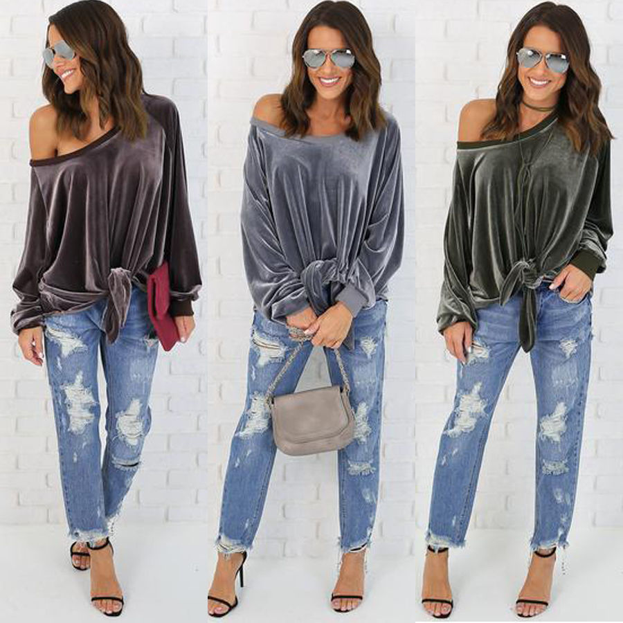 dbdfd9ad31524a Casual Womens Ladies Long Sleeve Top One Shoulder Loose Tops Blouse Shirt  Velvet | TOSAVE.COM