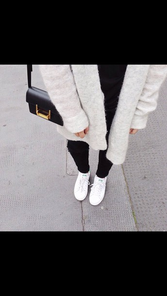 shoes white shoes cardigan white jacket tumblr sneakers low top sneakers white sneakers adidas adidas shoes stan smith jeans black jeans ripped jeans grey cardigan bag black bag