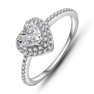 jewels heart shaped halo engagement ring heart shaped diamond ring 18k white gold plated 925 sterling silver heart cut cz engagement ring three prong set heart diamond ring evolees.com