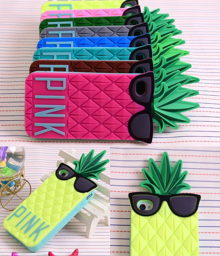 online store 60bb3 2956e New 3D Glasses Pineapple Design Silicone Soft Case Cover for iPhone 4 4S 4G  5 5S   eBay