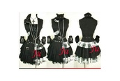 jewels,goth,black,white,dress,skirt,blouse,necklace,gloves,top,coat