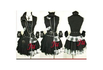 jewels goth black white dress skirt blouse necklace gloves top coat