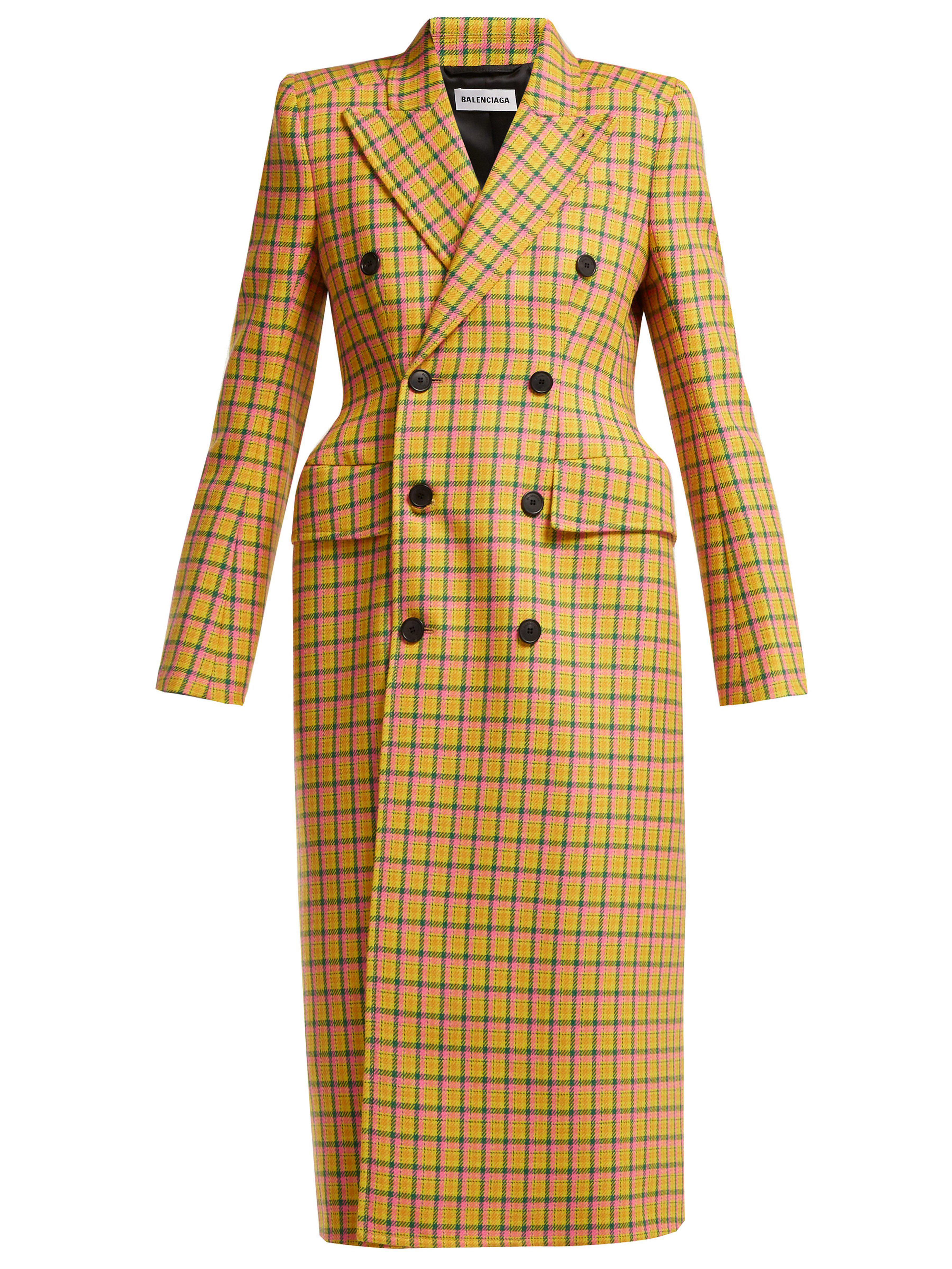 Balenciaga - Yellow Hourglass Tartan Virgin Wool Coat - Lyst