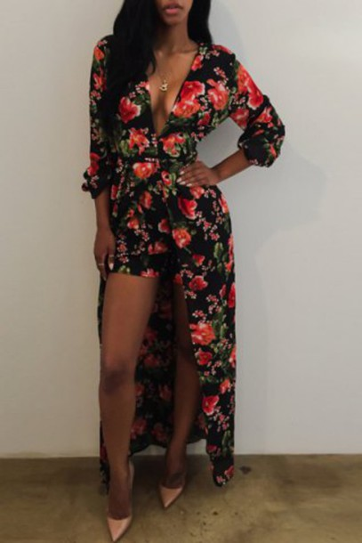 3a60dd82971 dress floral black maxi dress spring summer cleavage sexy red slit dress  long long sleeves