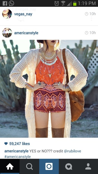 shorts tribal pattern vintage high waisted shorts high waist orange classy boho cardigan top jewels