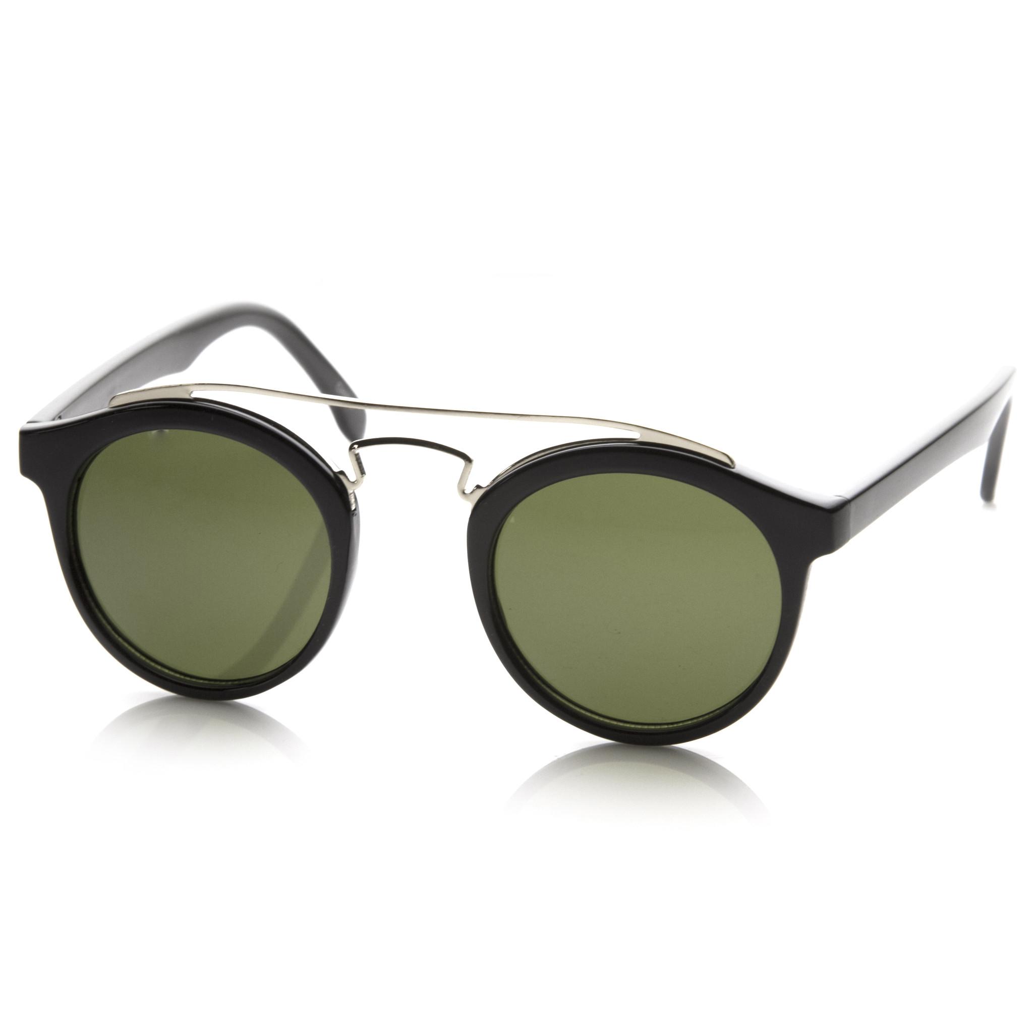 Retro Dapper Cross Bar P3 Round Aviator Sunglasses 8700