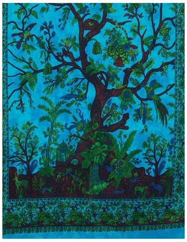 Indian Tree Of Life with Floral Bird Hippie Bohemian Handmade Tapestry with Exclusive Bestseller eBook