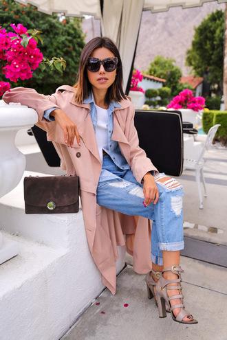 viva luxury blogger trench coat ripped jeans denim shirt coat jeans bag sunglasses top shoes