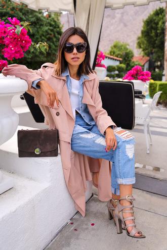 viva luxury blogger trench coat ripped jeans denim shirt coat jeans bag sunglasses top shoes