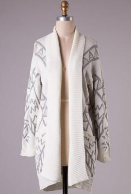 Sacred motif aztec print long cardigan in cream/grey