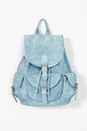 bag,denim,backpack,silver,blue,acid wash,denim backpack,fashion backpack,washed,aquatic,college,perfect