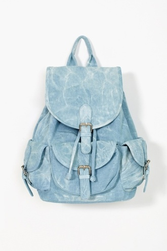 bag denim backpack silver blue acid wash denim backpack fashion backpack washed light blue ocean blue hipster grunge school bag pastel bag tumblr blue backpack back hippie denim bag summer accessories