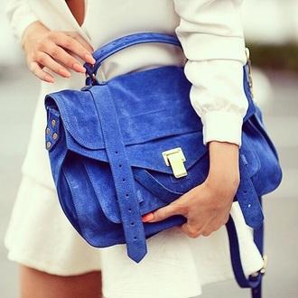bag blue handbag suede suede bag blue bag stachel bag royal blue