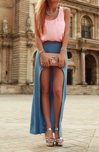 skirt outfit perfecto style maxi skirt maxi dress maxi blue skirt fashion love classy simple dress casual tank top dress shoes top