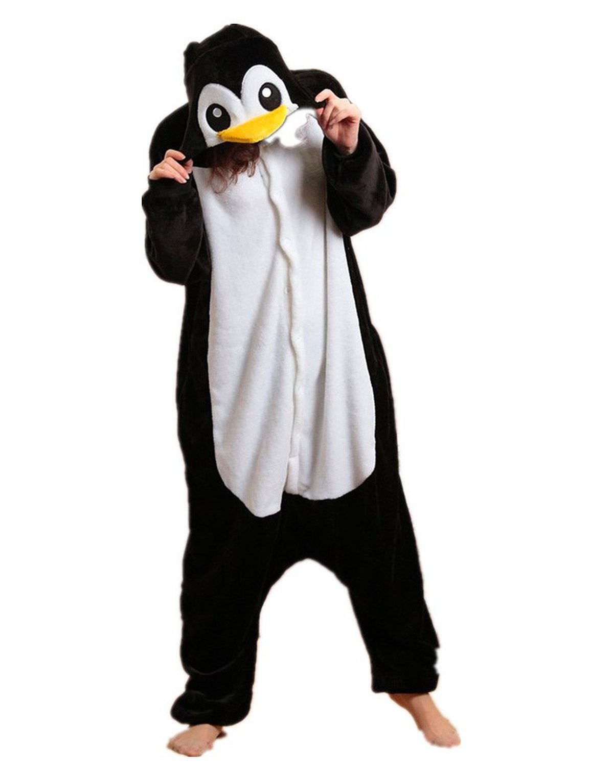 Manchot animal pyjama cospaly party fleece costume deguisement adulte unisexe (m(hauteur:160