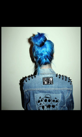 blue black skull grunge rock jacket punk denim jacket denim studs spiked jacket