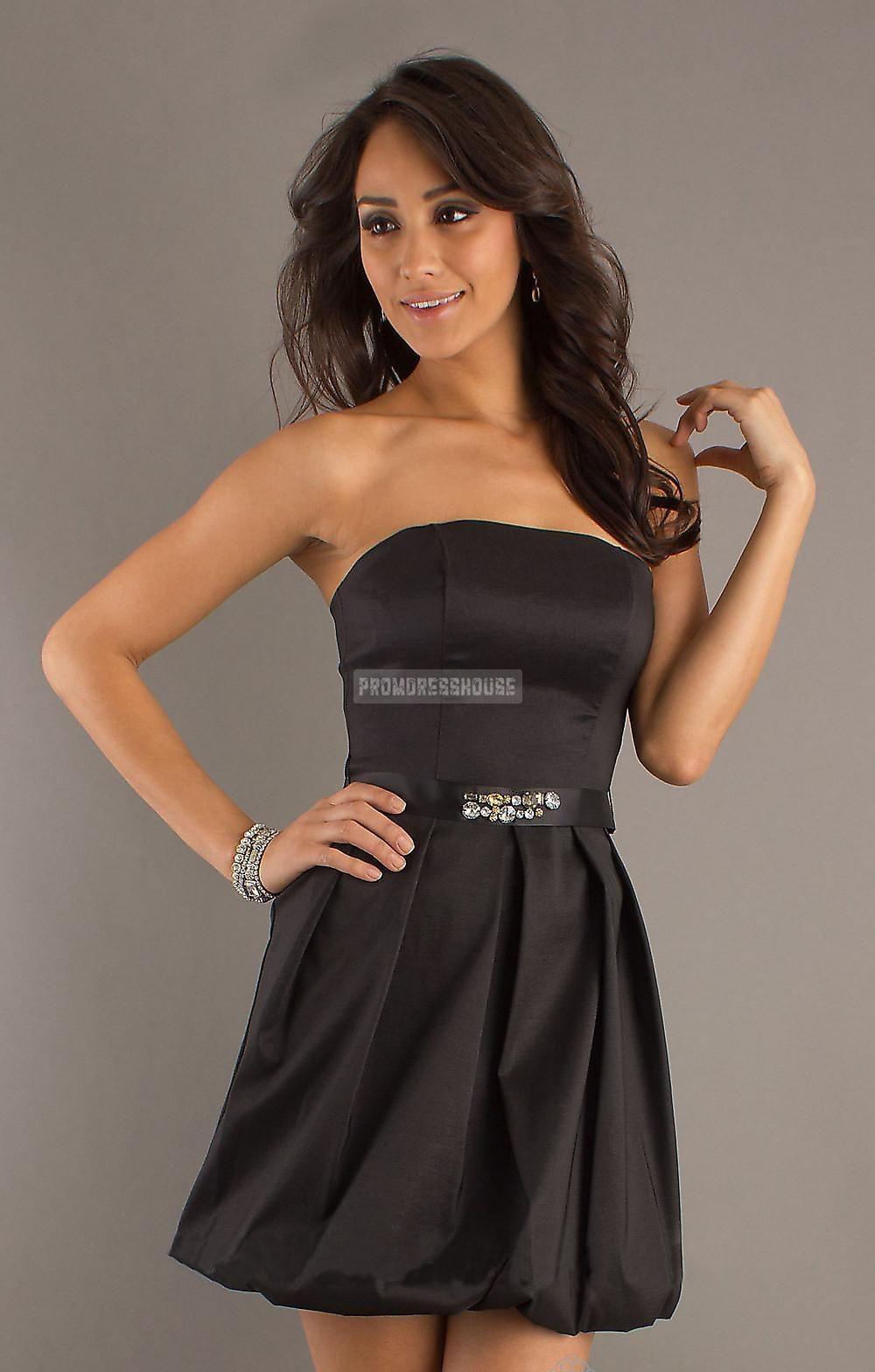 Satin Beading Baby Doll Sash Black Short Length Cocktail Dress - Promdresshouse.com