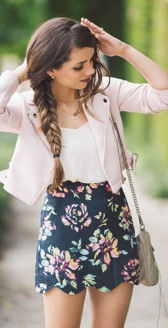 jacket pink cute elegant spring summer spring jacket perfecto skirt bag floral a-line skirt dress flowers navy scalloped floral skirt blazer floral shirt mini skirt top white top pink jacket grey bag summer outfits scalloped skirt pastel pink pastel spring outfits braid blogger