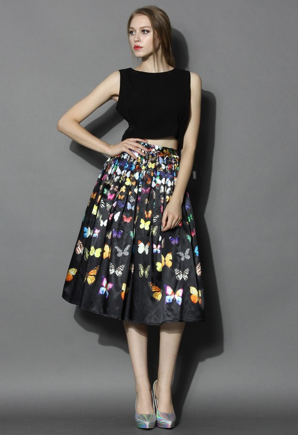 chicwish pleated midi skirt butterfly printed