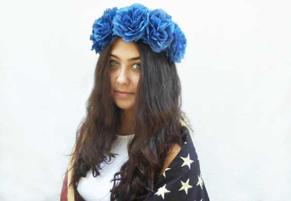hair accessory flower crown hippie headband hippie boho festival july 4th americana american apparel blue hair spring outfits summer flower child flower hair clip flowers flower hair