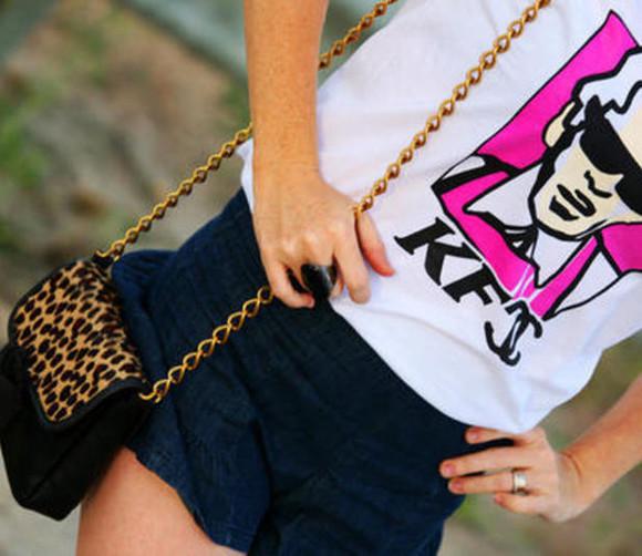 shirt kfc chanel pink karl lagerfeld leopard print clutch shorts