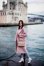 the bow-tie,blogger,coat,jeans,shoes,bag,pink coat,pink bag,ankle boots,spring outfits