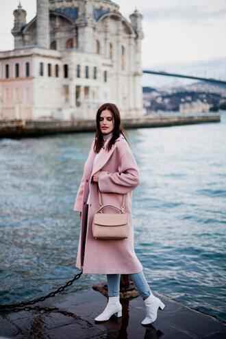 the bow-tie blogger coat jeans shoes bag pink coat pink bag ankle boots spring outfits