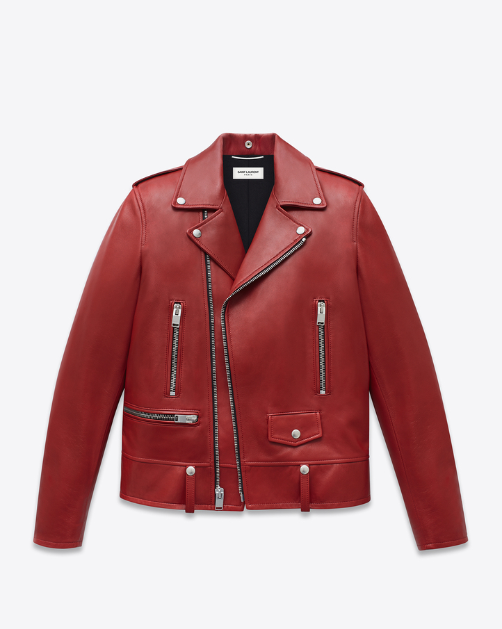 c28d60c4054 SAINT LAURENT CLASSIC MOTORCYCLE JACKET IN RED LEATHER | YSL.COM