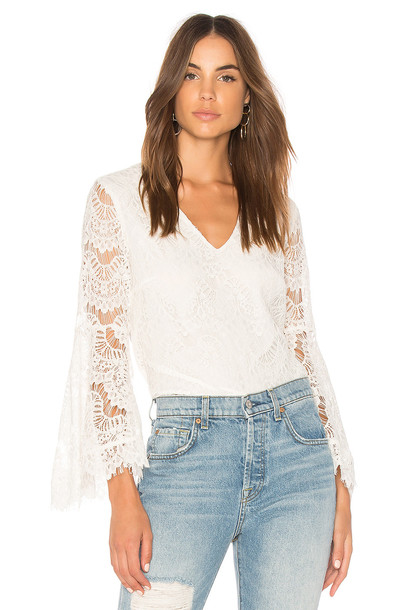 Minkpink blouse love lace white top