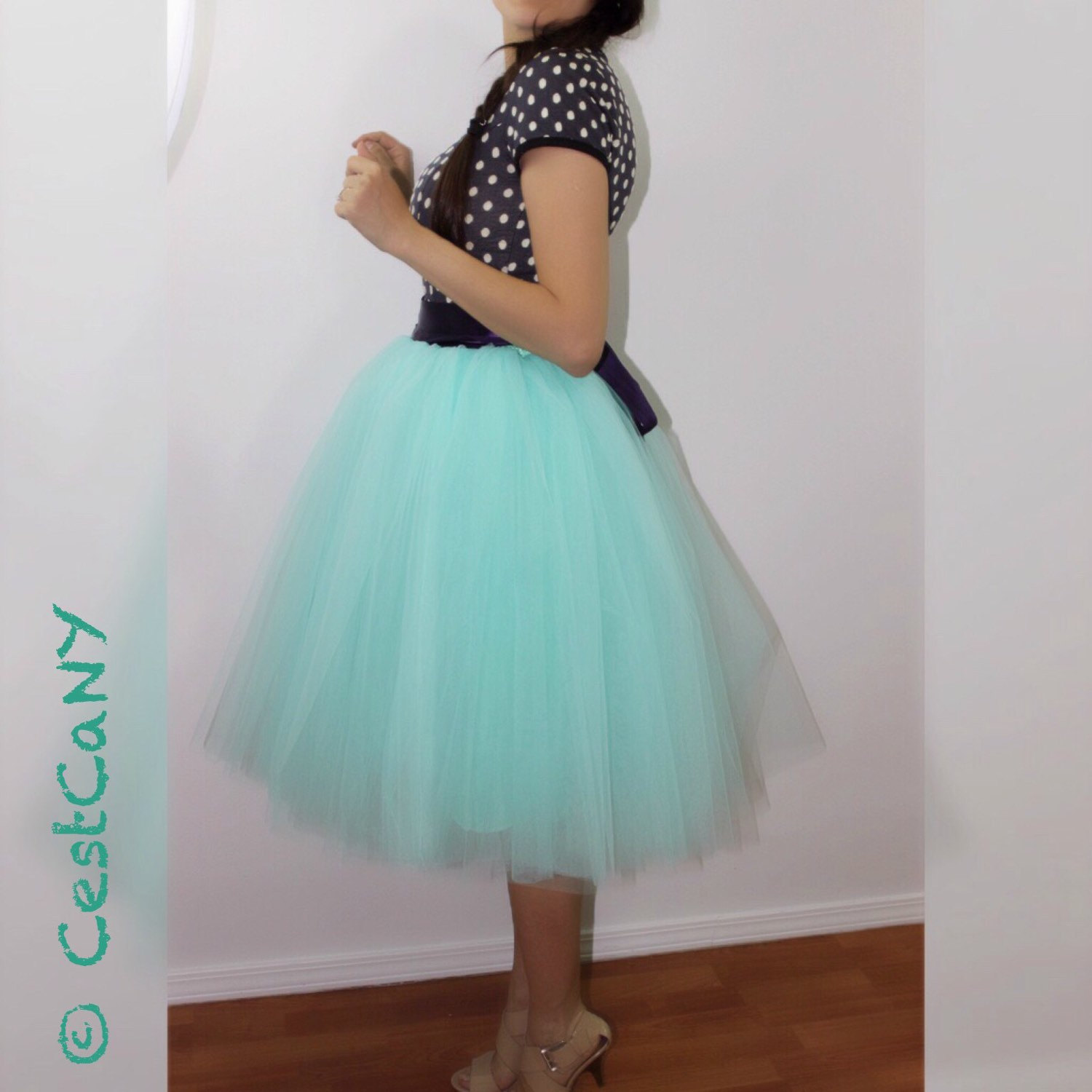 Layers puffy tutu, green swiss tulle princess tutu, beloe knee length midi tutu