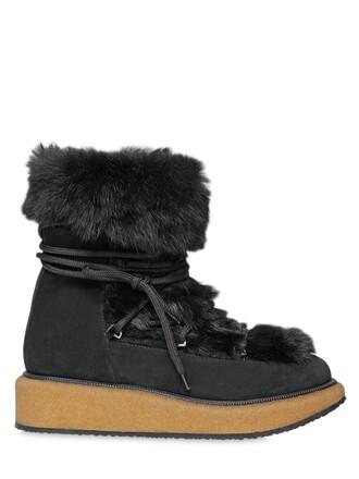 fur boots lace suede black shoes