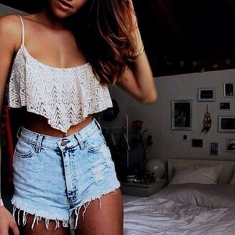 top sweet perfect girl sea beach short shorts