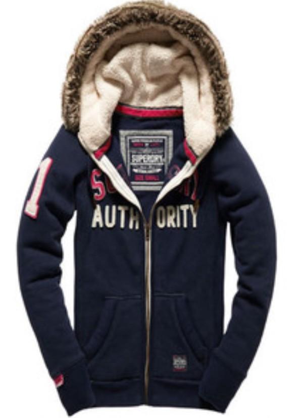 jacket hoodie superdry cut fur