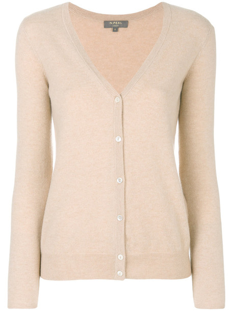 N.Peal - v-neck cardigan - women - Cashmere - S, Nude/Neutrals, Cashmere