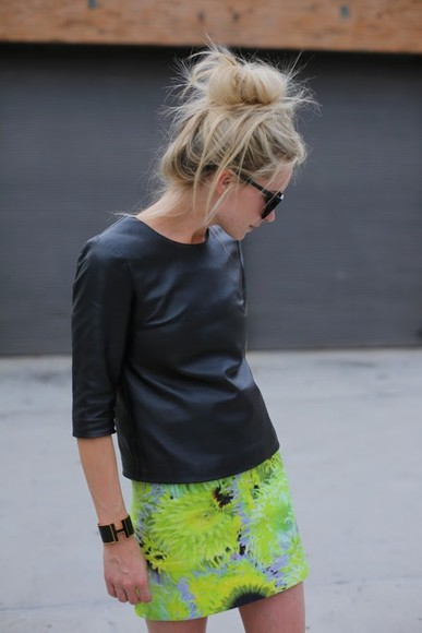 neon skirt shirt mini skirt leather black leather shirt dress, leather, black, shirt, t-shirt, grunge, torii gaynot green neon skirt floral skirt skirt neon yellow pattern