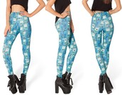 pants,blue,adventure time,leggings,bmo,adventure time leggings