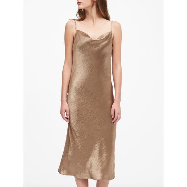 Banana Republic Women's Satin Midi Slip Dress Amber Regular Size 4