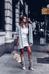 vivaluxury - fashion blog by annabelle fleur: nyfw mini moment,blogger,skirt,shoes,cardigan,bag,jewels,fall outfits,mini skirt,metallic skirt,grey cardigan,louis vuitton bag,grey boots,boots