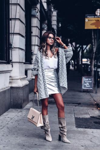 vivaluxury - fashion blog by annabelle fleur: nyfw mini moment blogger skirt shoes cardigan bag jewels fall outfits mini skirt metallic skirt grey cardigan louis vuitton bag grey boots boots