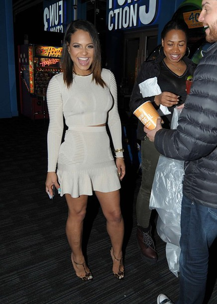 skirt top two-piece christina milian shoes sandals